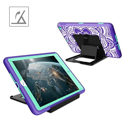 iPad Generation Hocase Duty Absorbent Rubber+Hard Dual Layer Case w/Mandala Floral for 9.7 -