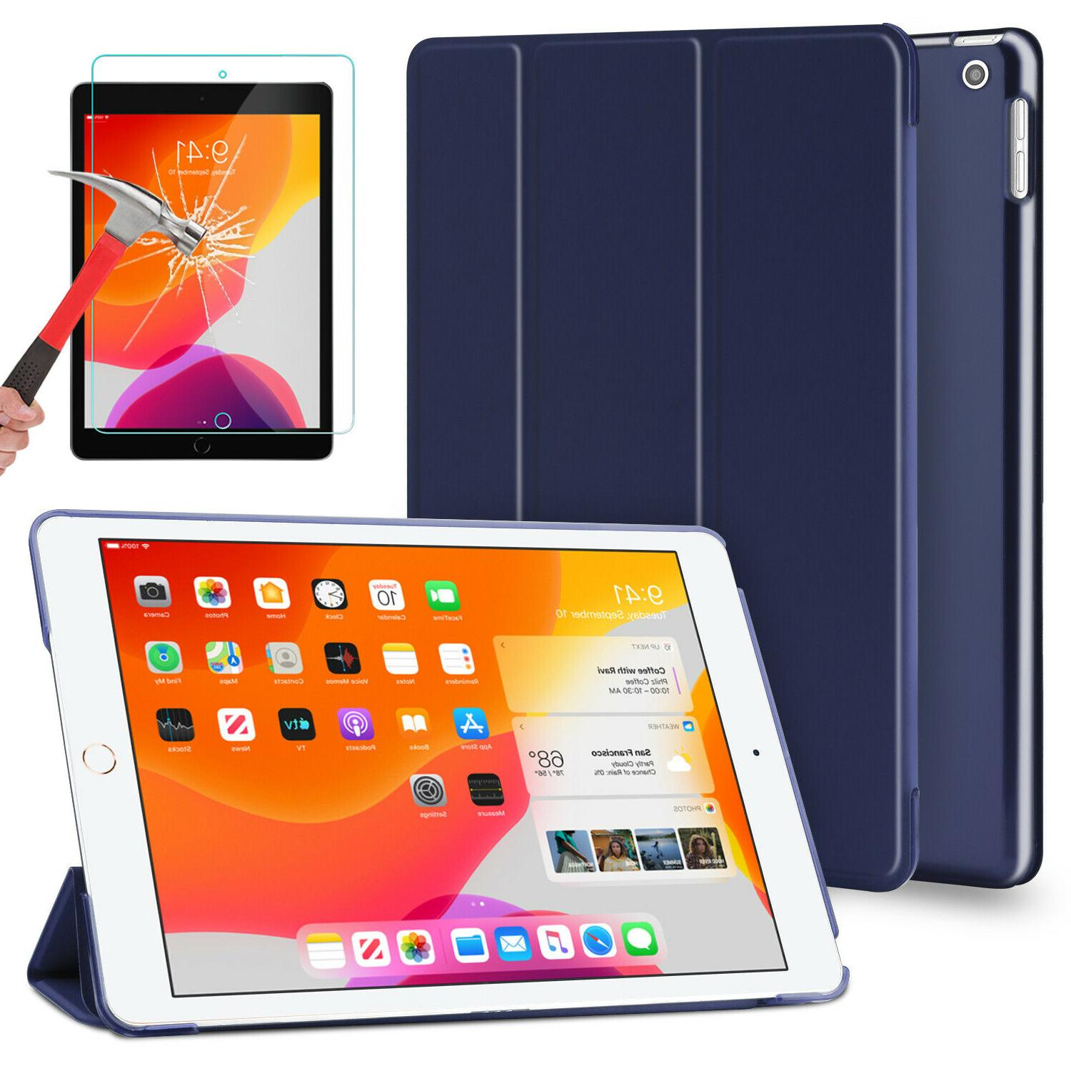 For iPad Generation 10.2 Case Cover+Tempered Glass Protector