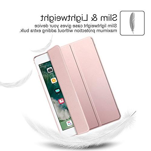 Fintie 9.7 Case - Shell Cover Translucent Frosted Supports Auto Wake/Sleep for iPad 9.7 6th Generation, Rose Gold