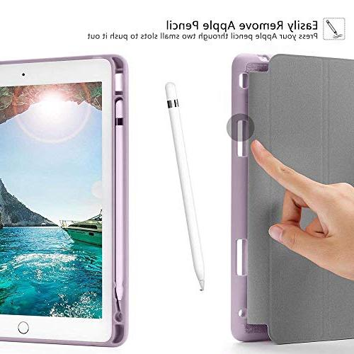 Soke New 2018/2017 Holder, Trifold Shockproof Soft TPU Back and Sleep/Wake Function for iPad 9.7 5th/6th Generation, Violet