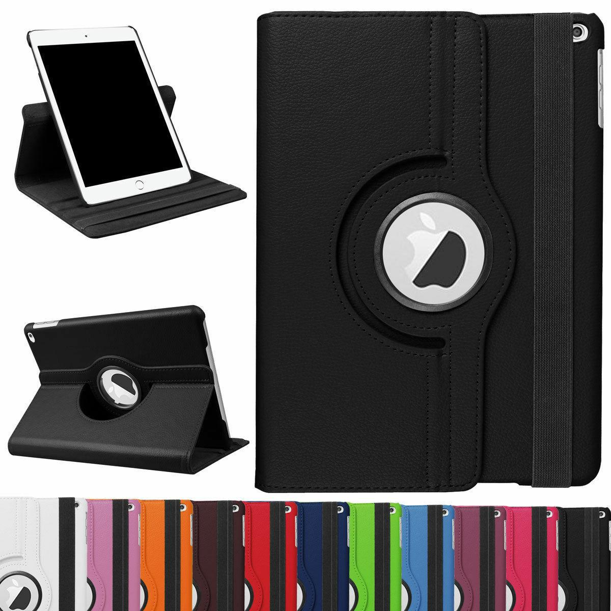 360 Rotating Shockproof Leather Flip Smart Stand Case For Ap