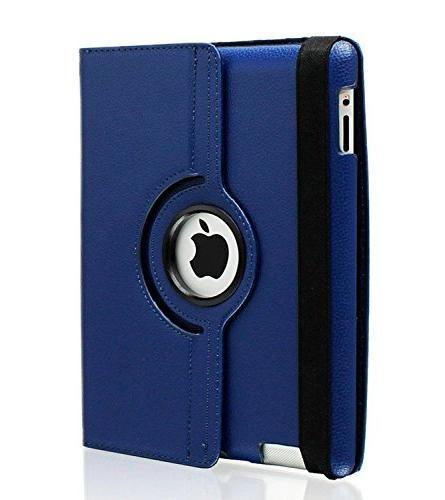 iPad Case, 3 Case, iPad Case, AiSMei Rotating Case with Up/Sleep 2, 3, iPad 4 Navy Blue