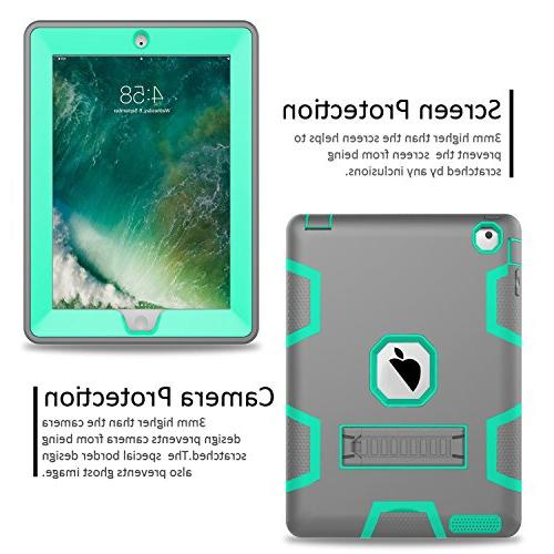 Topsky Three Layer Body Protective Case for iPad 2, 3, Grey/Green