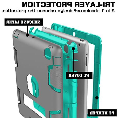 Topsky Shock-Absorption Layer Armor Defender Body Protective Case iPad 3, Grey/Green