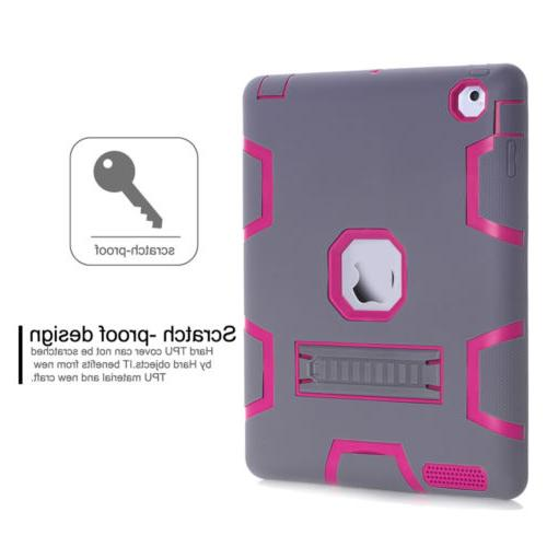 Shockproof Heavy Duty Rubber With Hard Cover For iPad 2 iPad