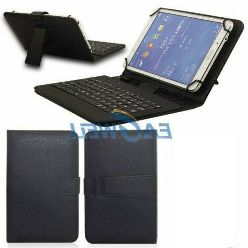 """New Folio Leather Cover Case With USB Keyboard For 7"""" 8"""" Tab"""