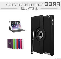 Leather Plain 360 Degrees Rotating iPad Case for Ipad New 9.