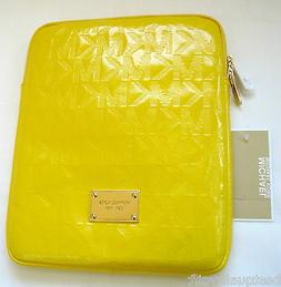 NEW-MICHAEL KORS ELECTRONICS CITRUS YELLOW MK LOGO LEATHER+G