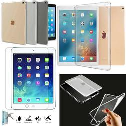 New Smart Clear Gel Case Cover + Tempered for iPad 2 3 4 Air