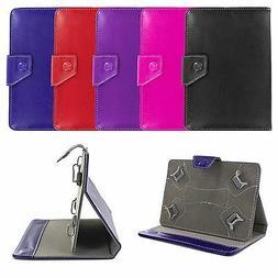 """Premium Universal 8"""" Folio Leather Case Cover Skin w/ Stand"""