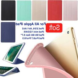 PU leather Silicone Smart Case Cover Magnetic For Apple iPad