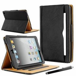 Real Leather Wallet Smart Stand Case Cover fit for iPad 234