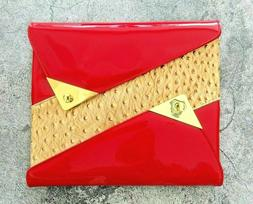 ASHARD RICHLEY Red Patent Envelope Clutch iPad Case Gold Ton