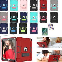 For iPad 9.7 5th 6th Shockproof Rubber Hard Kickstand Case A